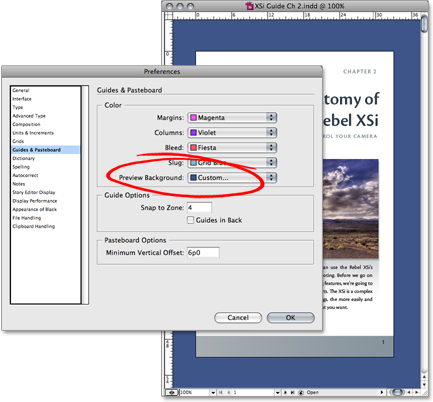 setting the background in photoshop or indesign a article