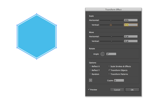 hexagon with double white stroke in Illustrator