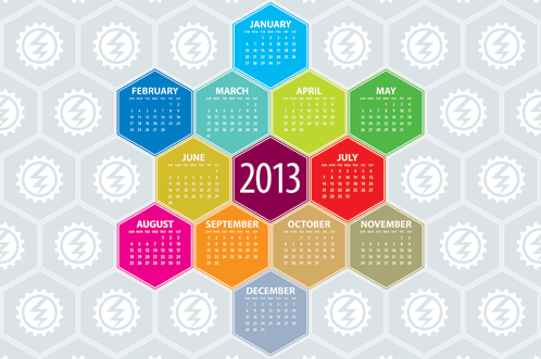 calendar of hexagons with logo background