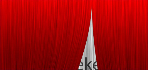 A synthetic talk show curtain made by sidekick Colleen in Photoshop