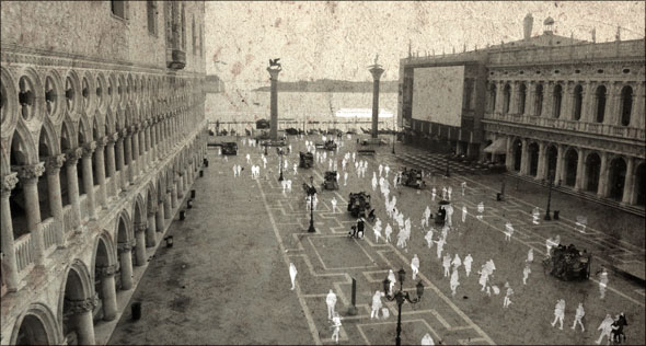 Three photos of Saint Mark's Square merged to produce ghosts