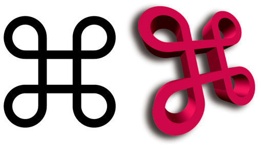 The perfect Command key, in 2D and 3D, from Illustrator