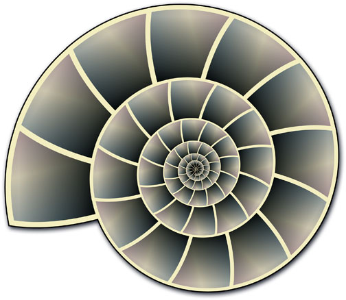 A nautilus shell rendered from a single tiny triangle in Illustrator
