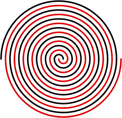 Two perfect Archimedean spirals in Adobe Illustrator