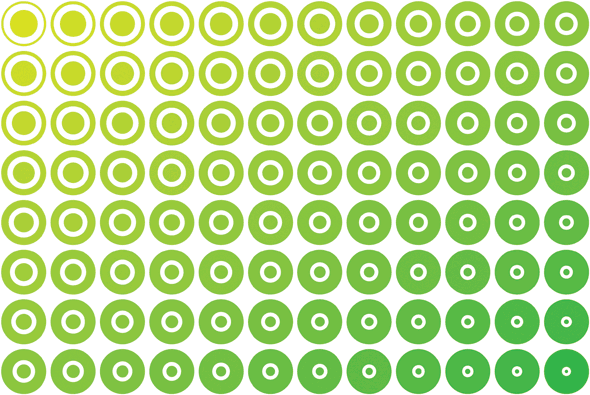 The amazing size- and color-changing circle pattern in Adobe Illustrator