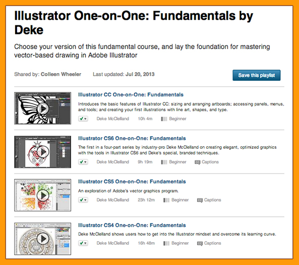 A playlist of Deke's Illustrator Fundamentals course for multiple versions