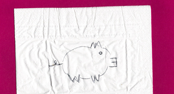 Scan of the napkin drawing that inspired the Pig-ture drawing