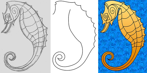 Draw a seahorse with Illustrator's improved Pencil tool