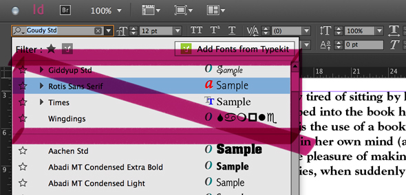 Get rid of that constantly shifting list in InDesign