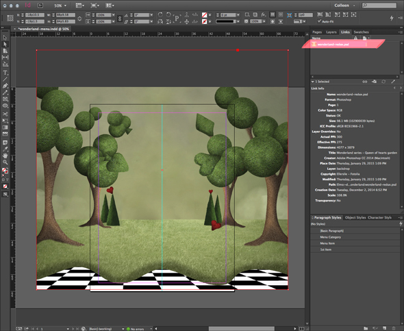 Placing a graphic in InDesign