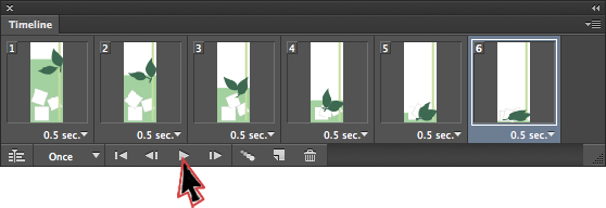 Set all the frames in the Timeline panel and run a preview with the Play button.