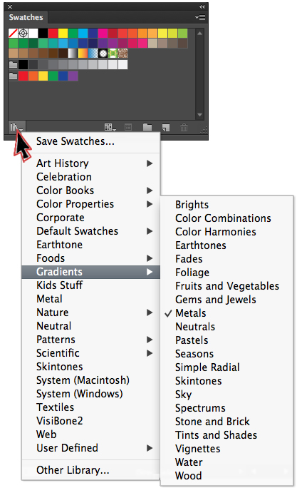 Adding a swatch library in Illustrator