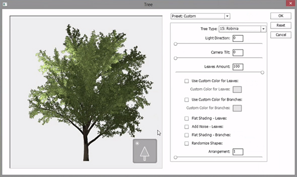 Photoshop can create trees via the Fill dialog box and a scripted pattern.