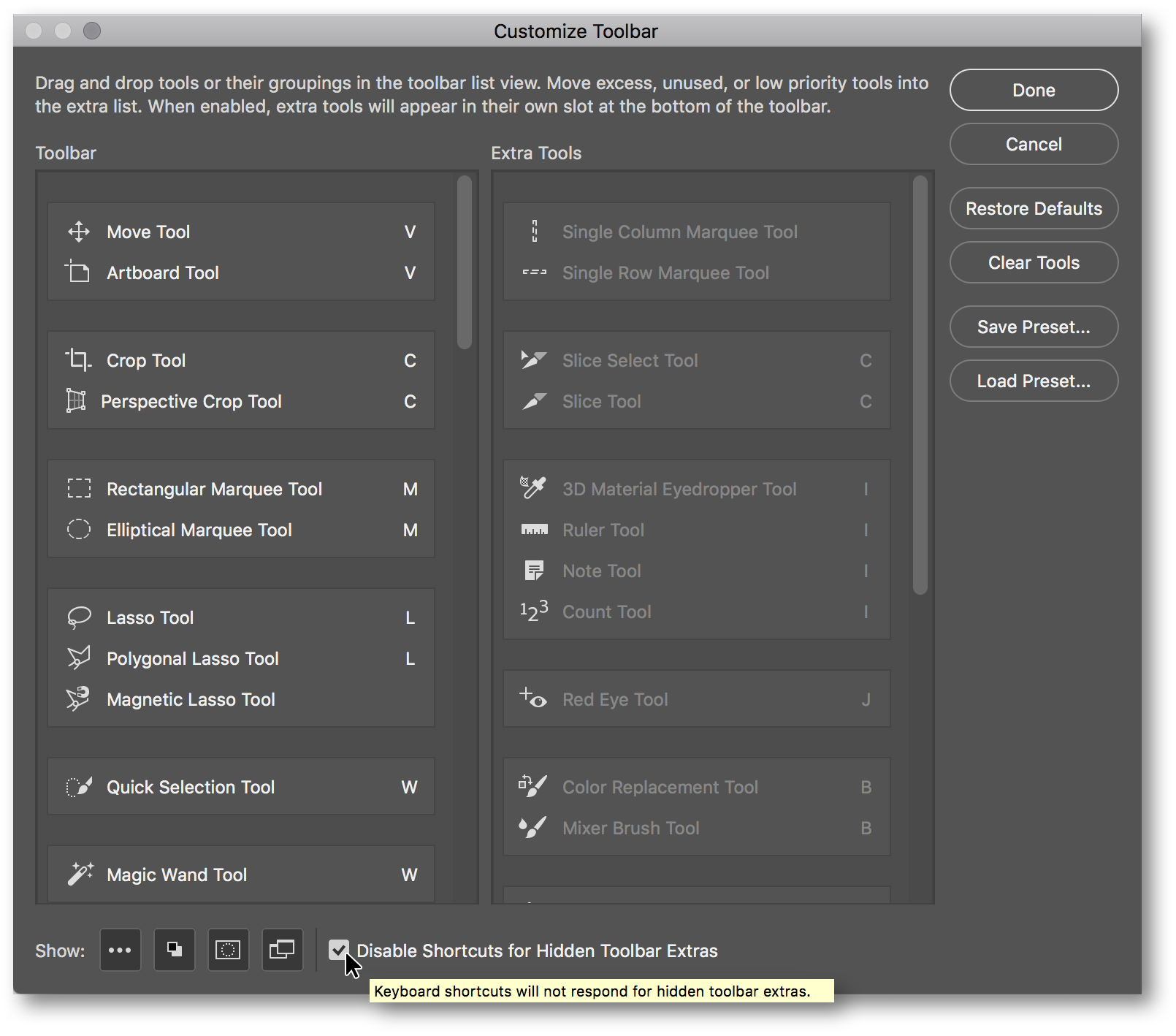 Customize Toobar dialog box