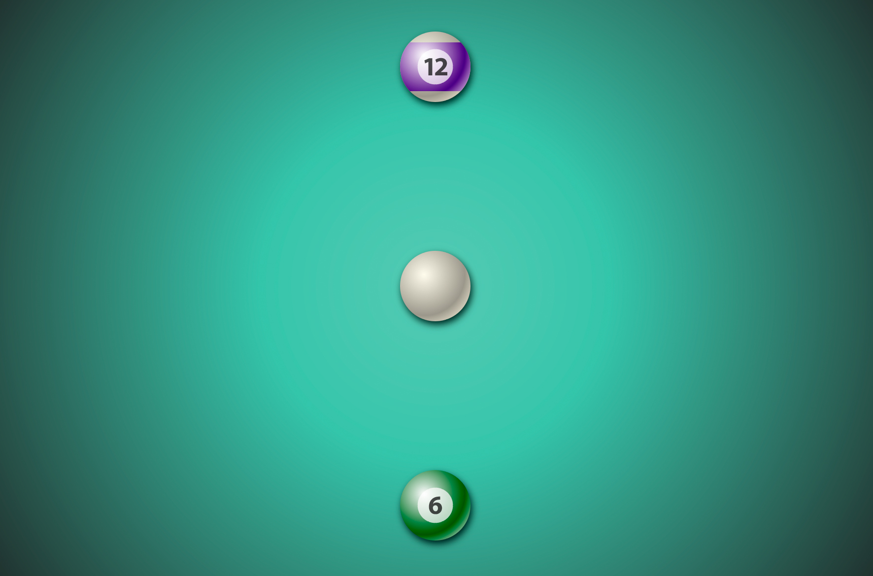 A green gradient with a 12, cue, and 6 ball on it.