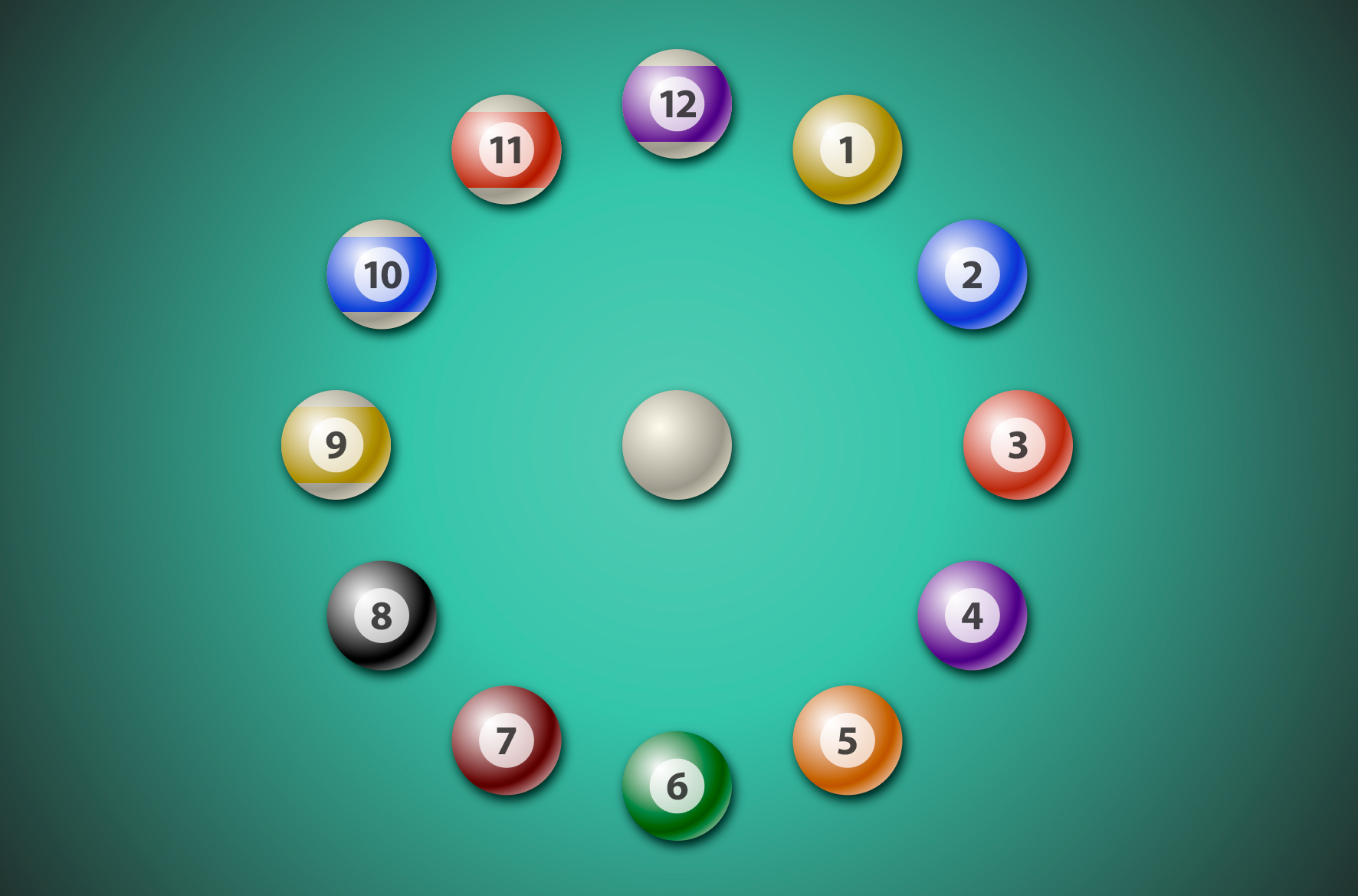 Colored pool balls around a clock face with a cue ball in the center