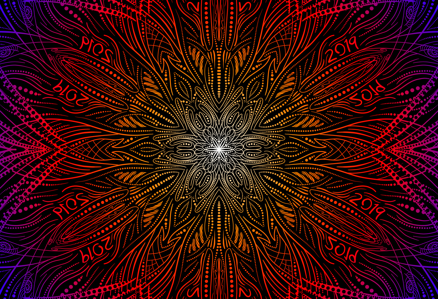 Mandala pattern with a layer of color applied to white pattern