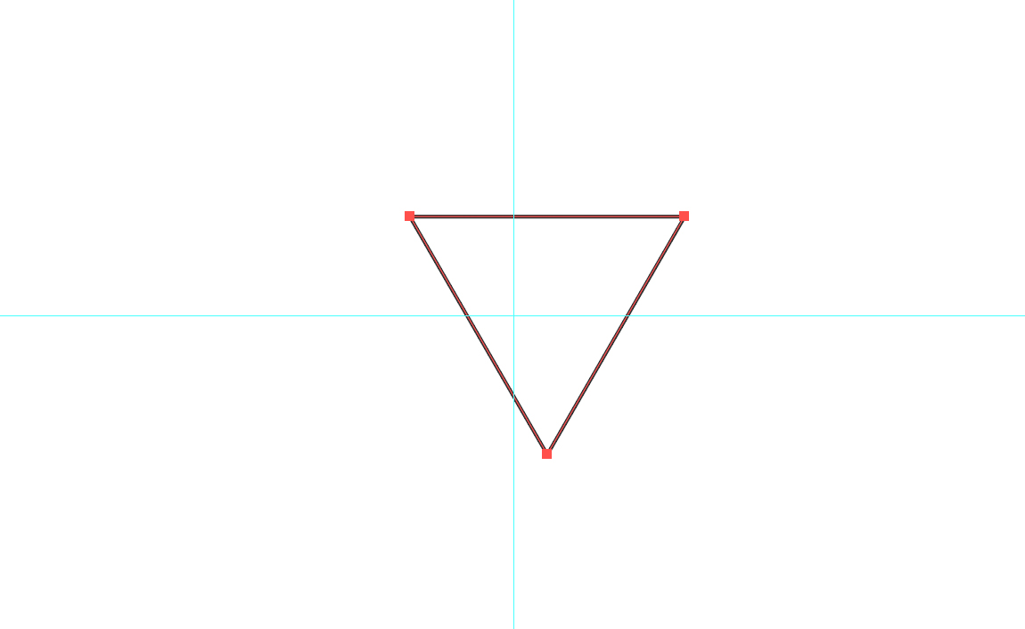A lone triangle sitting slightly offset from guides in Illustrator