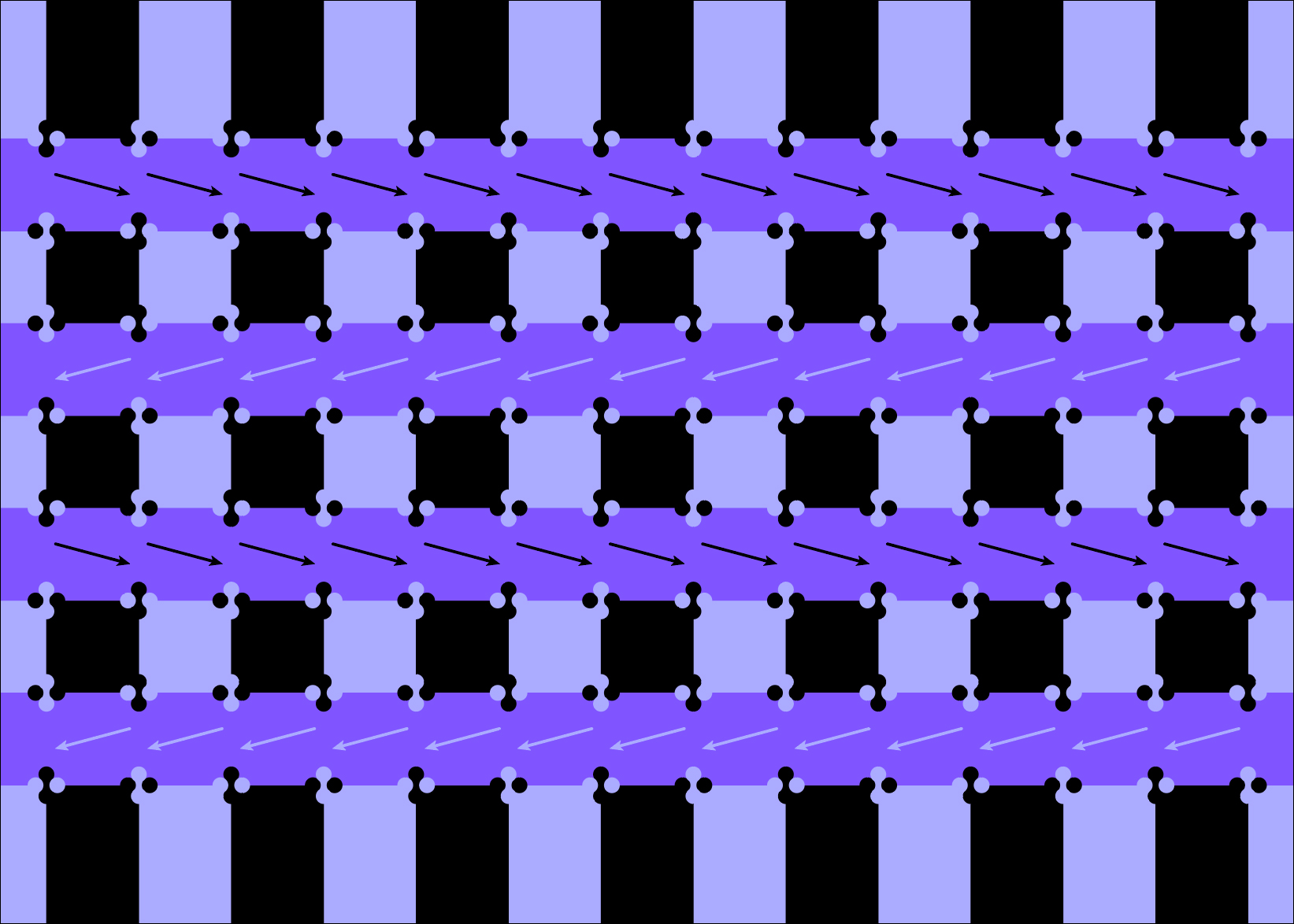 A checkerboard pattern at each intersection makes the purple bars slant in one direction