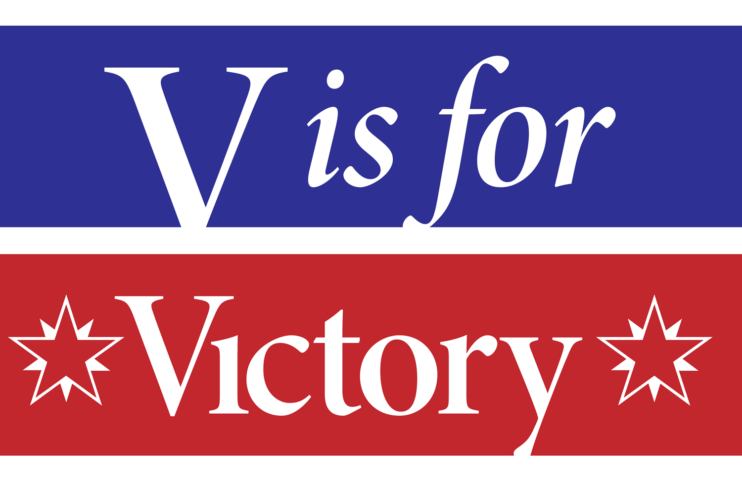 V is for Victory on a blue and red wide striped field.