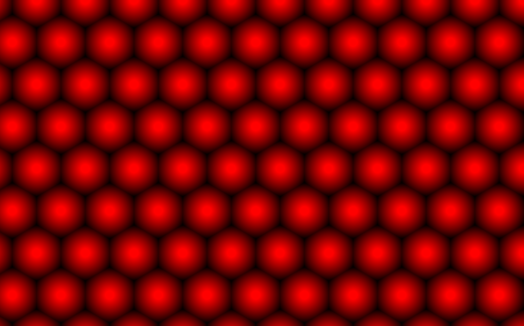 A regular hex pattern of shimmering cells in Adobe Illustrator