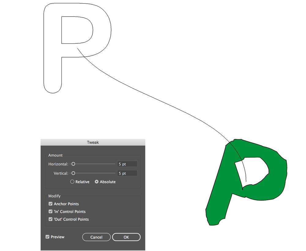 A standard letter P blends into a tweaked one in Adobe Illustrator