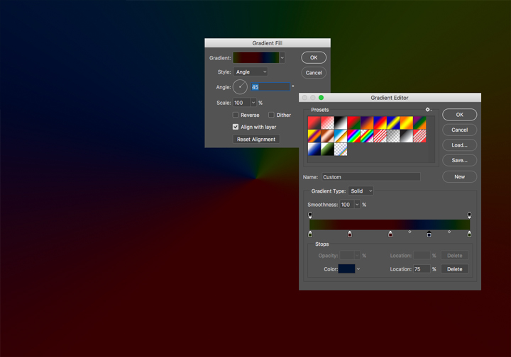 Custom gradient fill layer in Photoshop