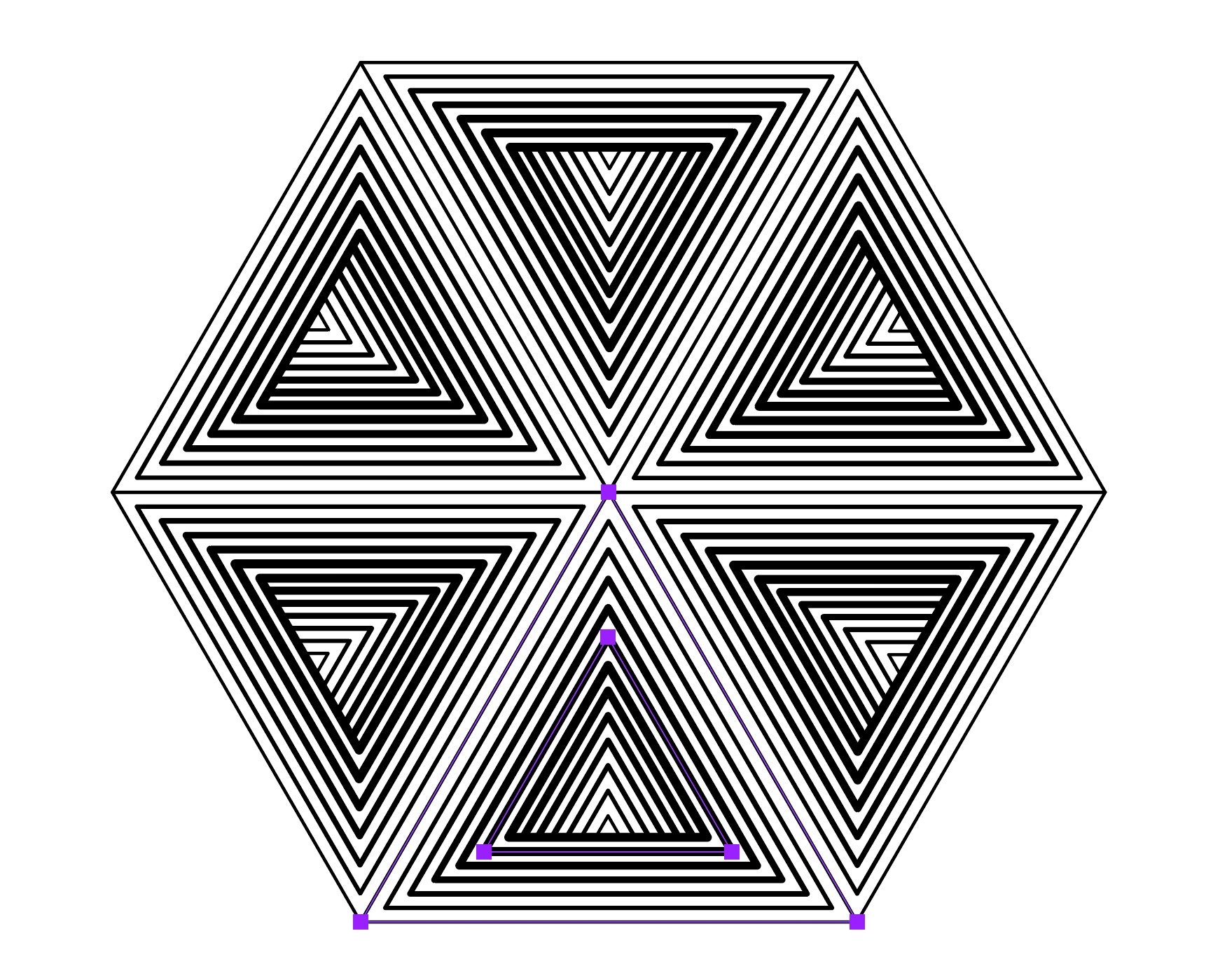 A hexagon made of triangles.
