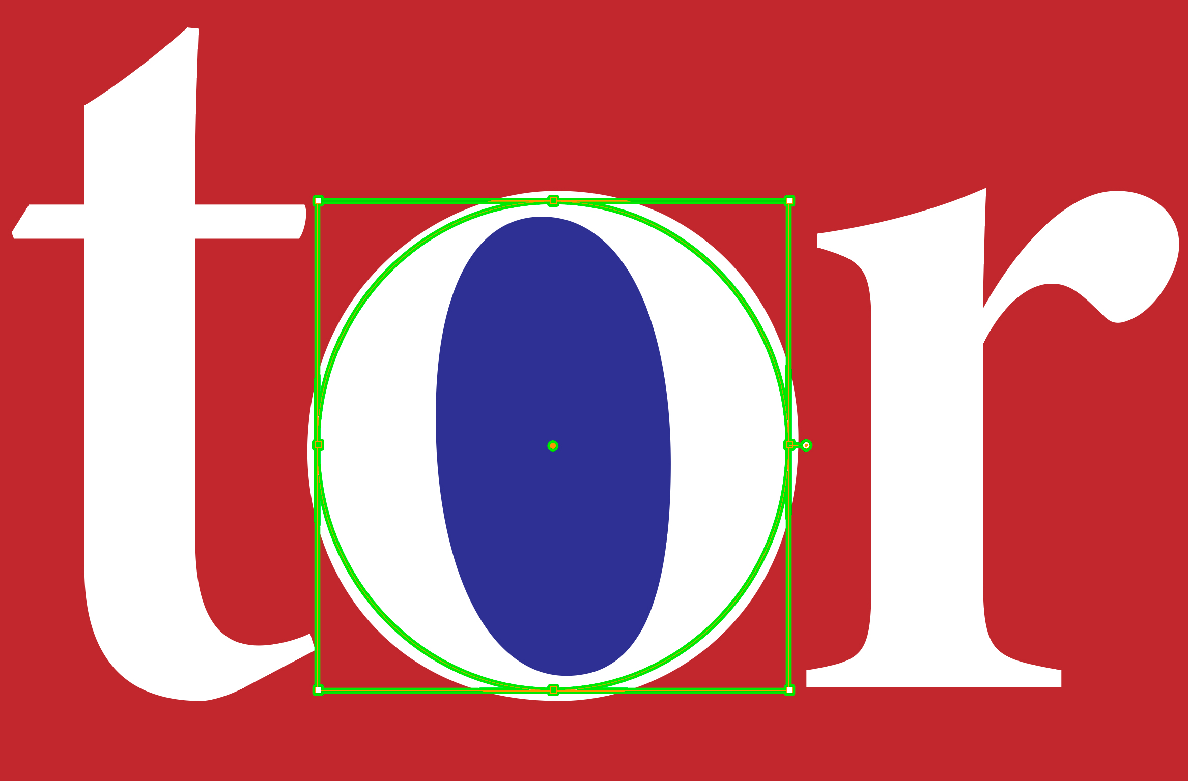 White letters t-o-r on a red field with the counter of the o turned blue