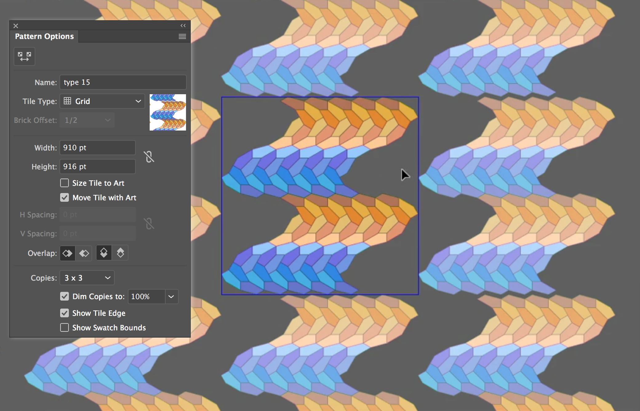Using the Pattern Options dialog box in Adobe Illustrator