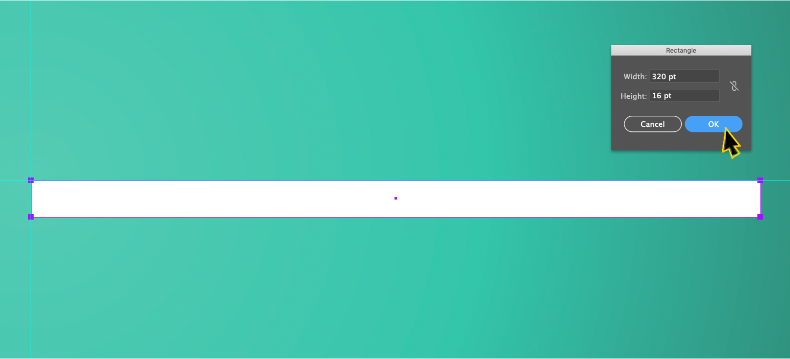 A long white rectangle on a green field in Adobe Illustrator