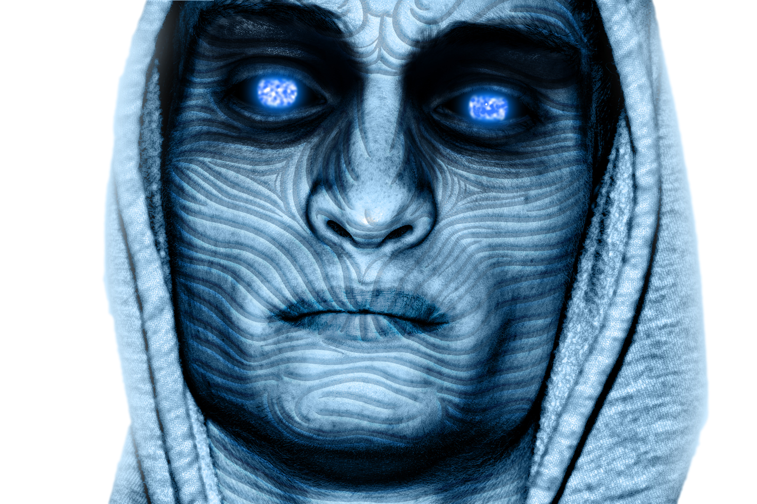 Model with glowing blue eyes, white walker style.