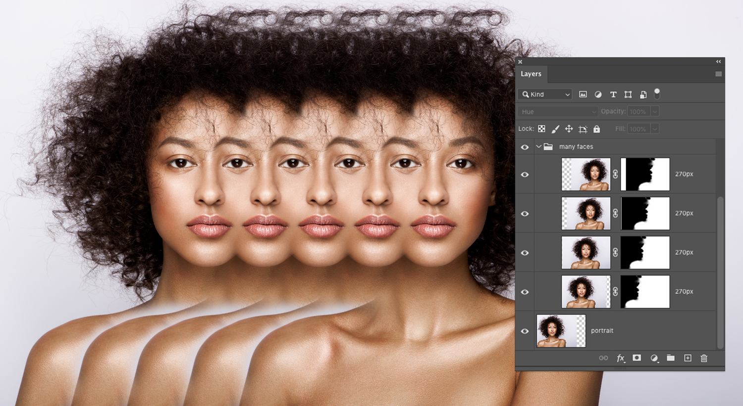 Five duplicated faces and Photoshop's Layers panel with duplicate masks