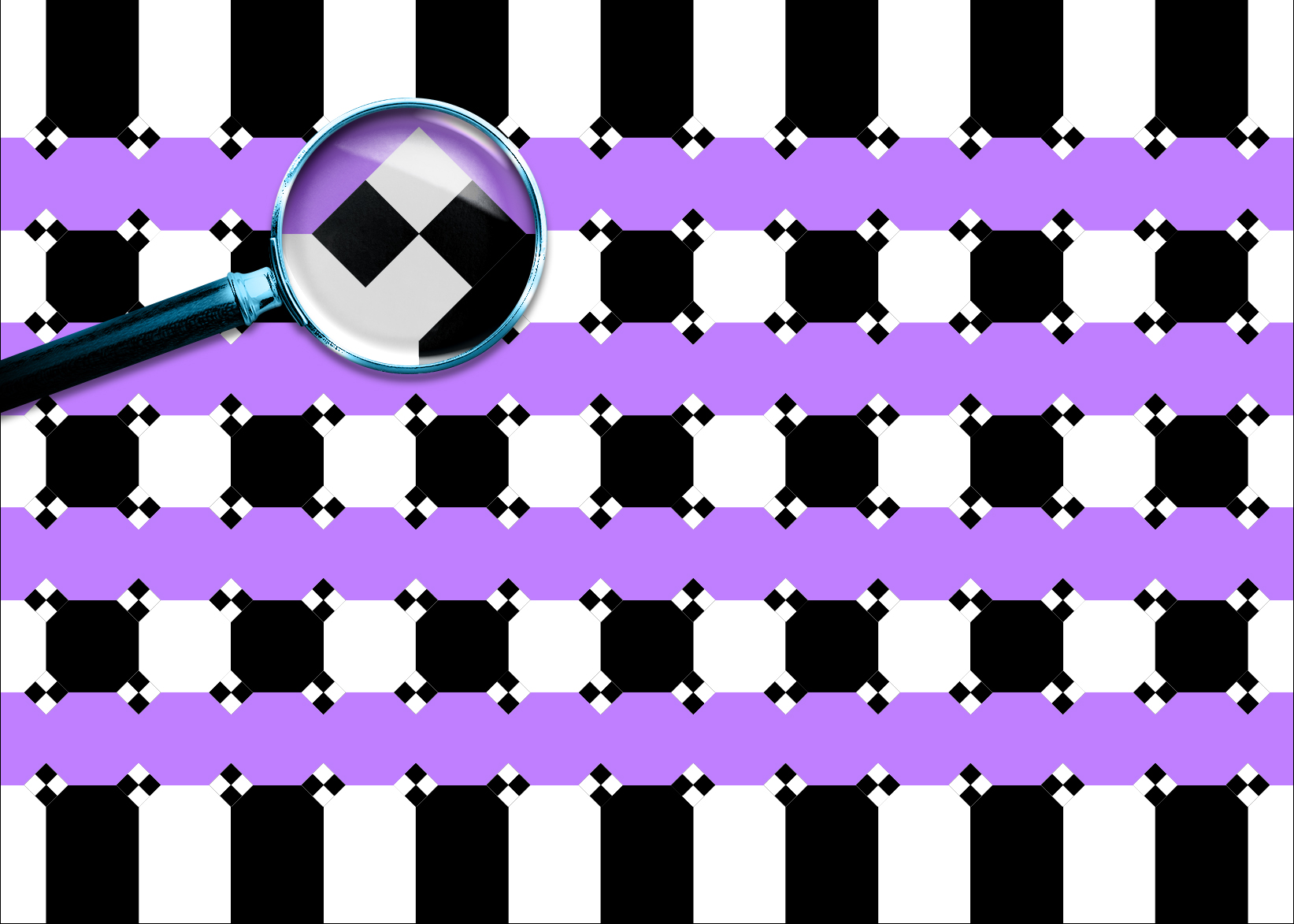 Checker shapes at the intersections create a bending illusion