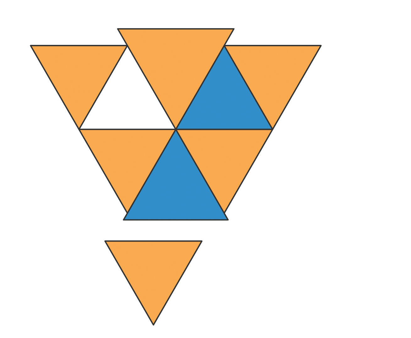 Eight various triangles in Adobe Illustrator starting to look like a face