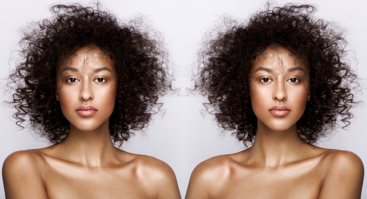 A full faced portrait and its flipped mirror image