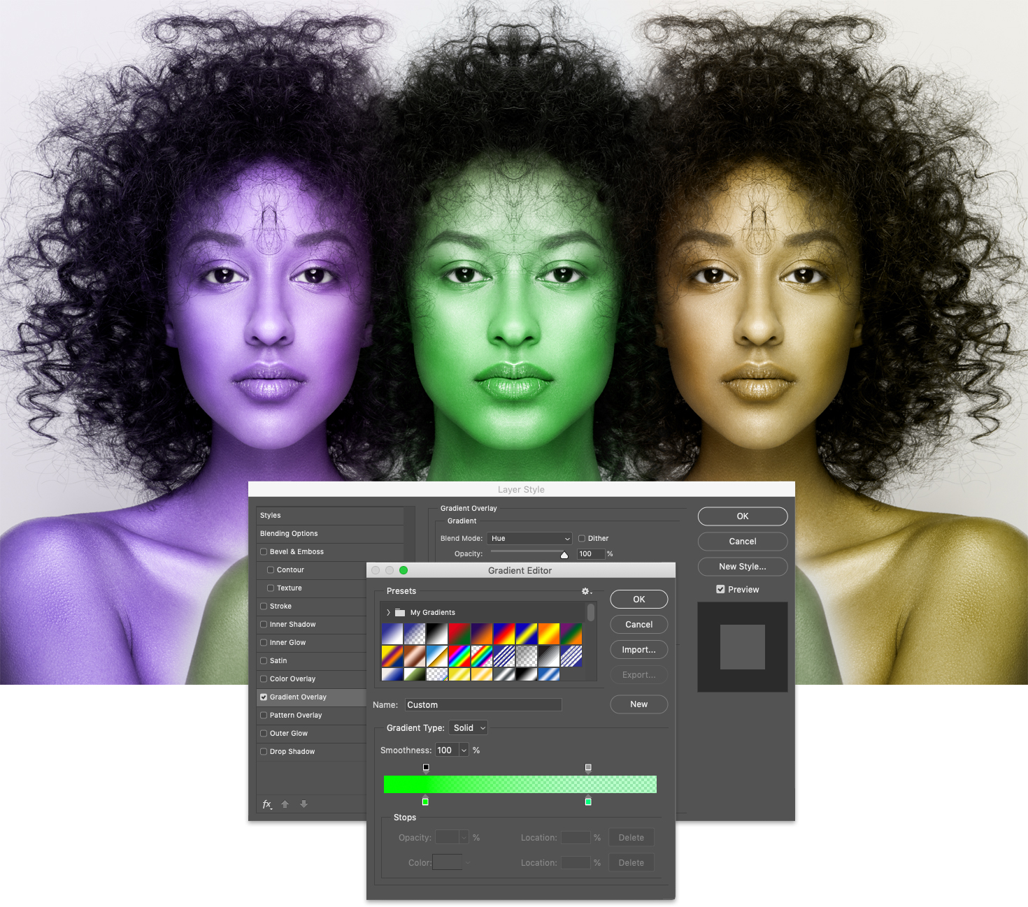 A triad of colorized faces with the Gradient Overlay dialog box