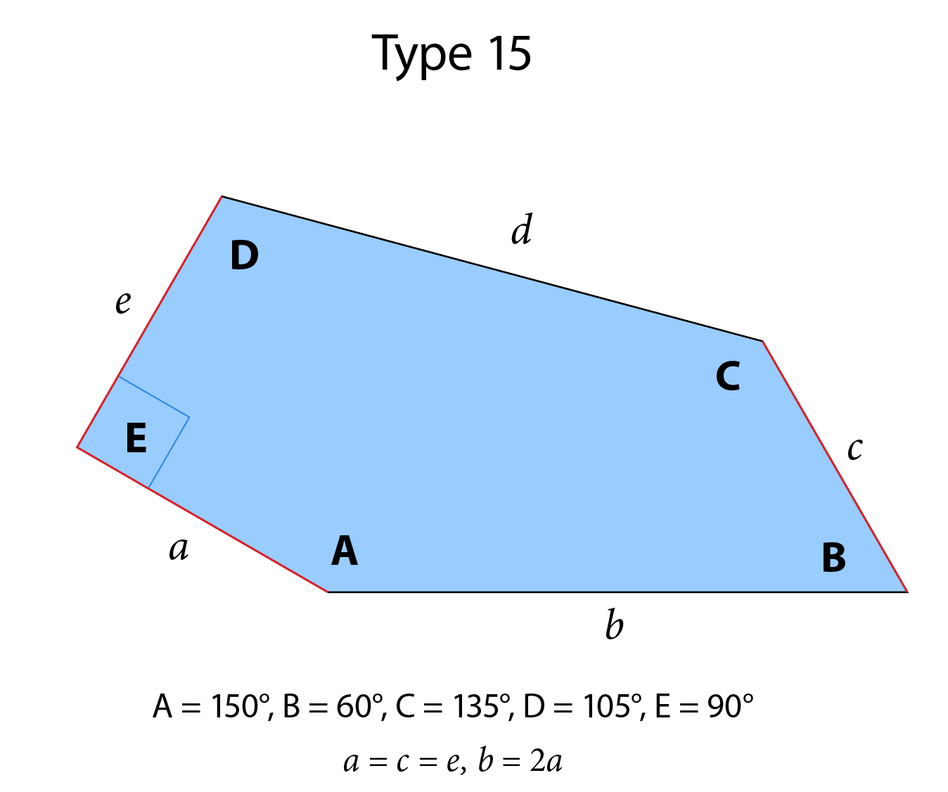 Diagram of tessellating pentagon Type 15