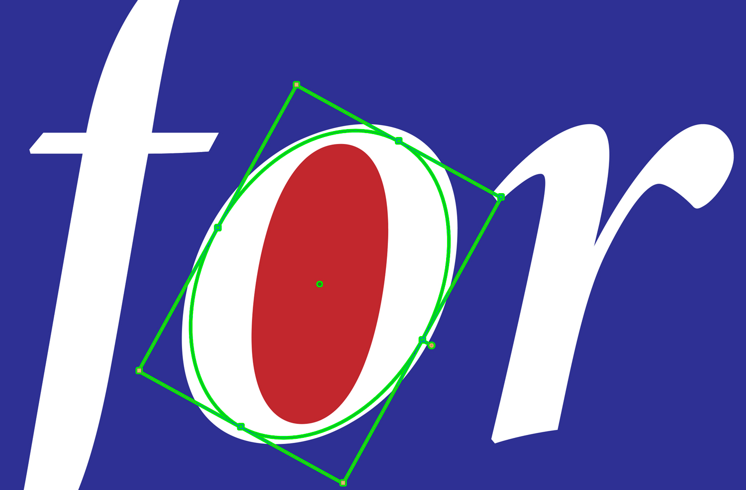 white italic letters f-o-r on a blue field with the counter of the O turned red