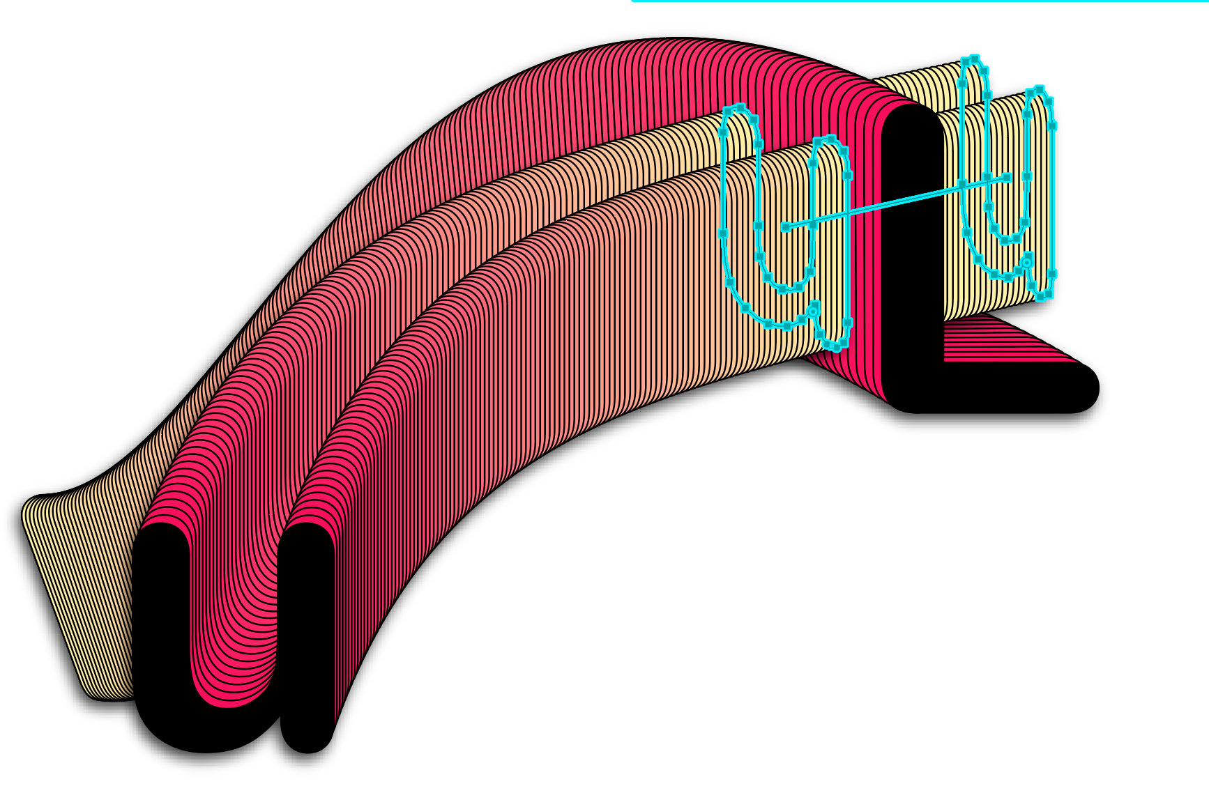 An extra object blend allows the u's extrusion to pass through the L's