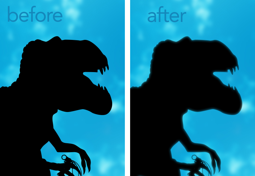 Before and after view of Inner Glow application (on dinosaur)