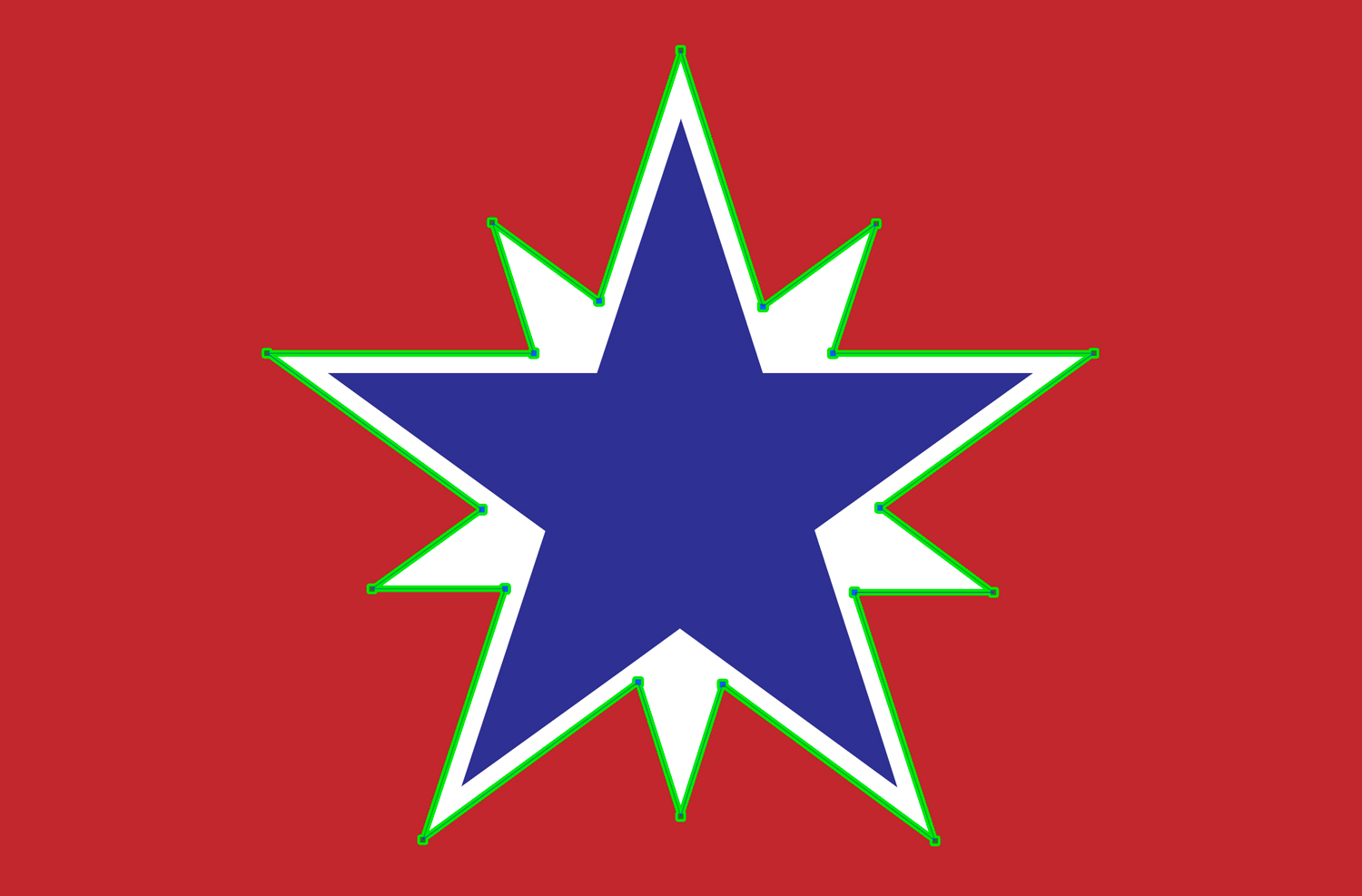 A blue star outlined in white on a red background
