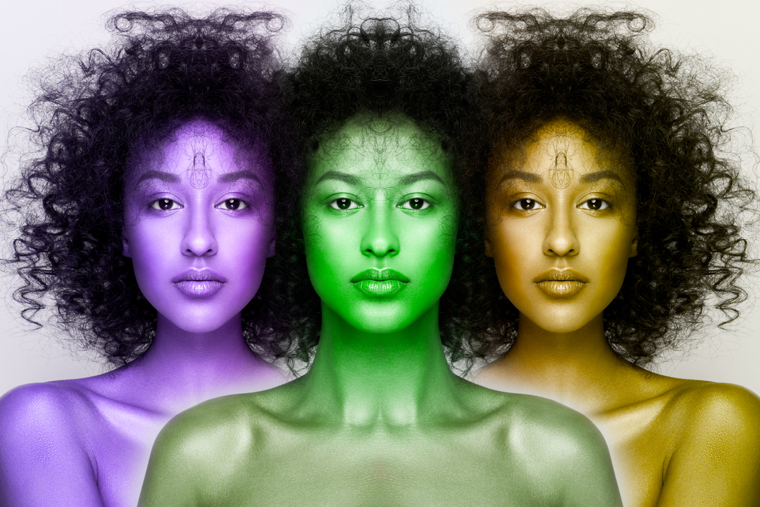 Vibrant triad of colorized faces