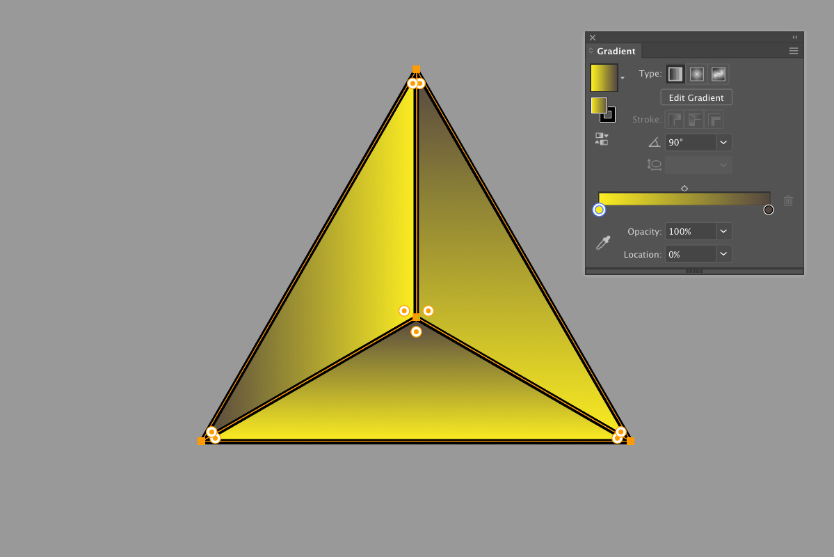 Adding a gradient to three sections of equilateral triangle