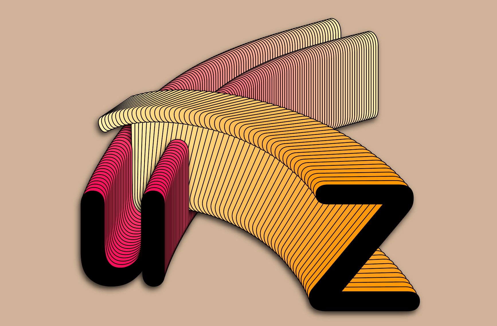 The Z slices through the path of the U