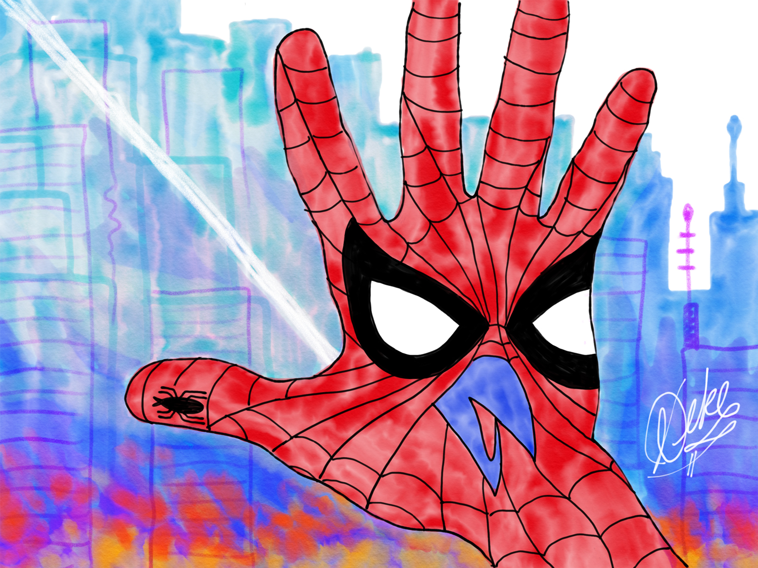 Hand turkey in the style of Spiderman