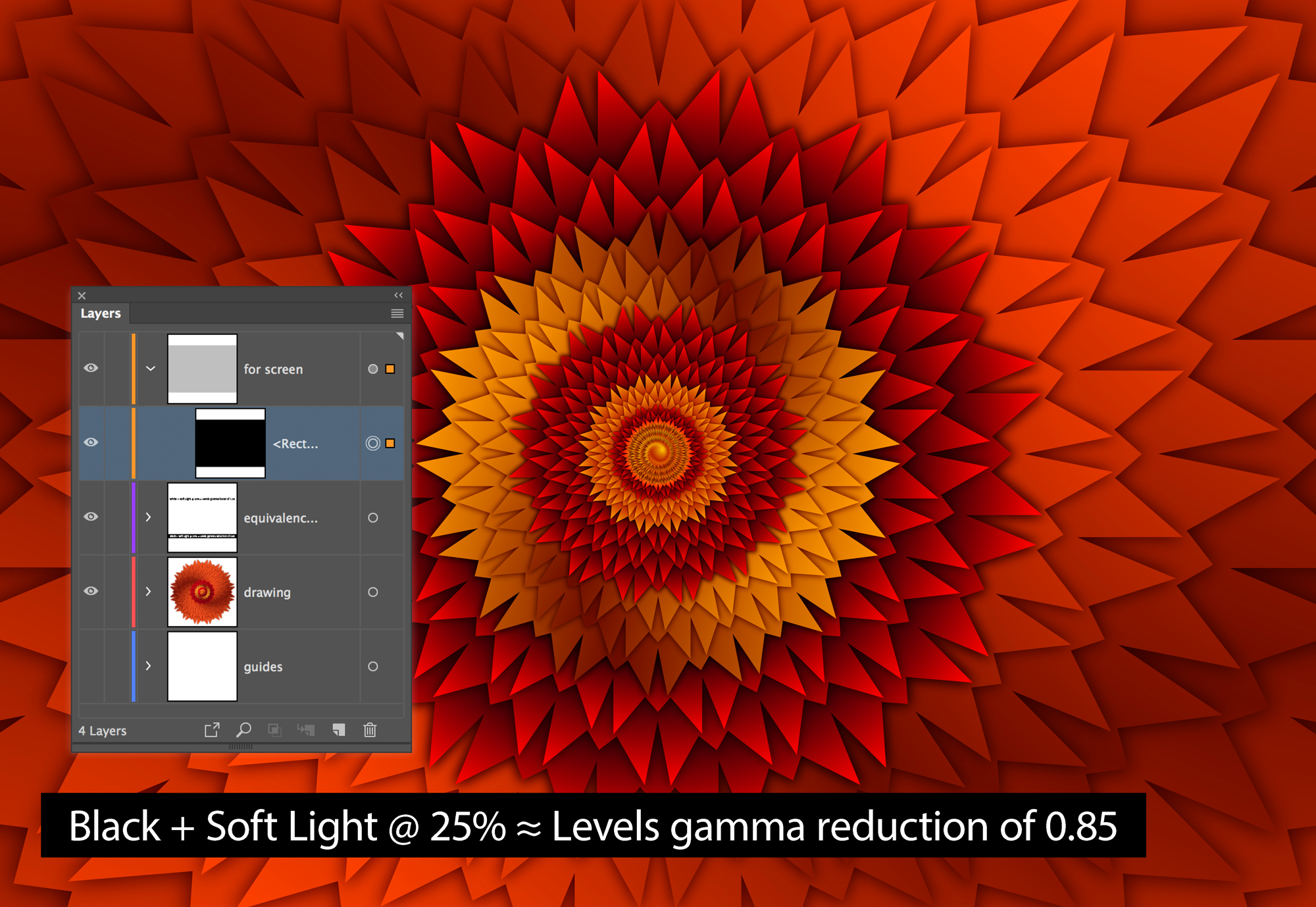 A dark layer used to simulate a Gamma adjustment in Adobe Illustrator