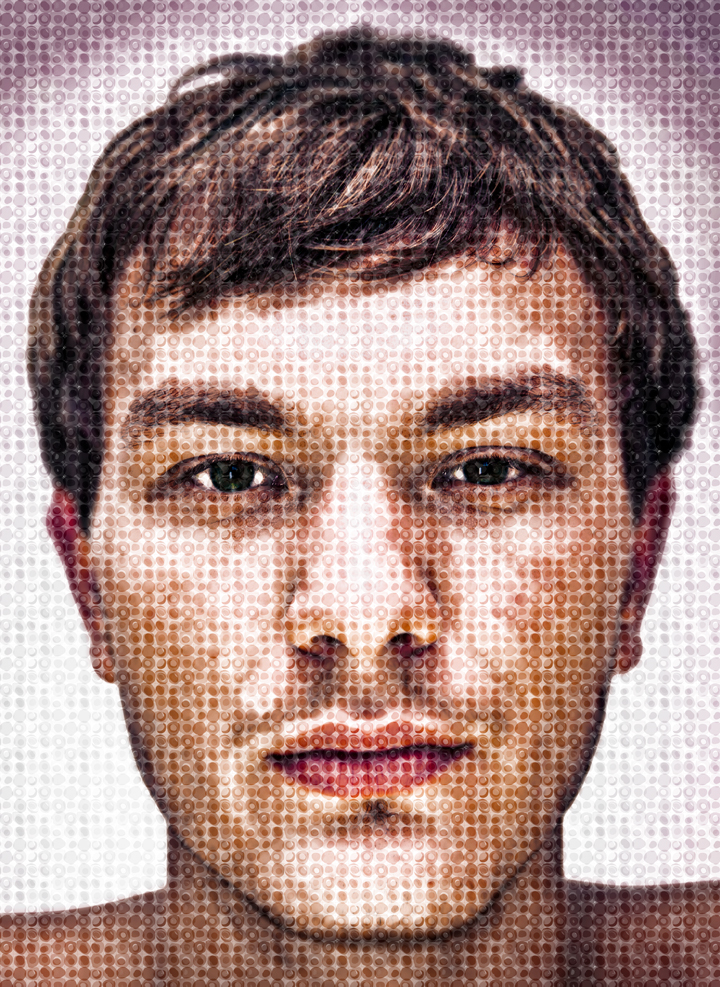 A portrait with a Chuck Close style effect applied
