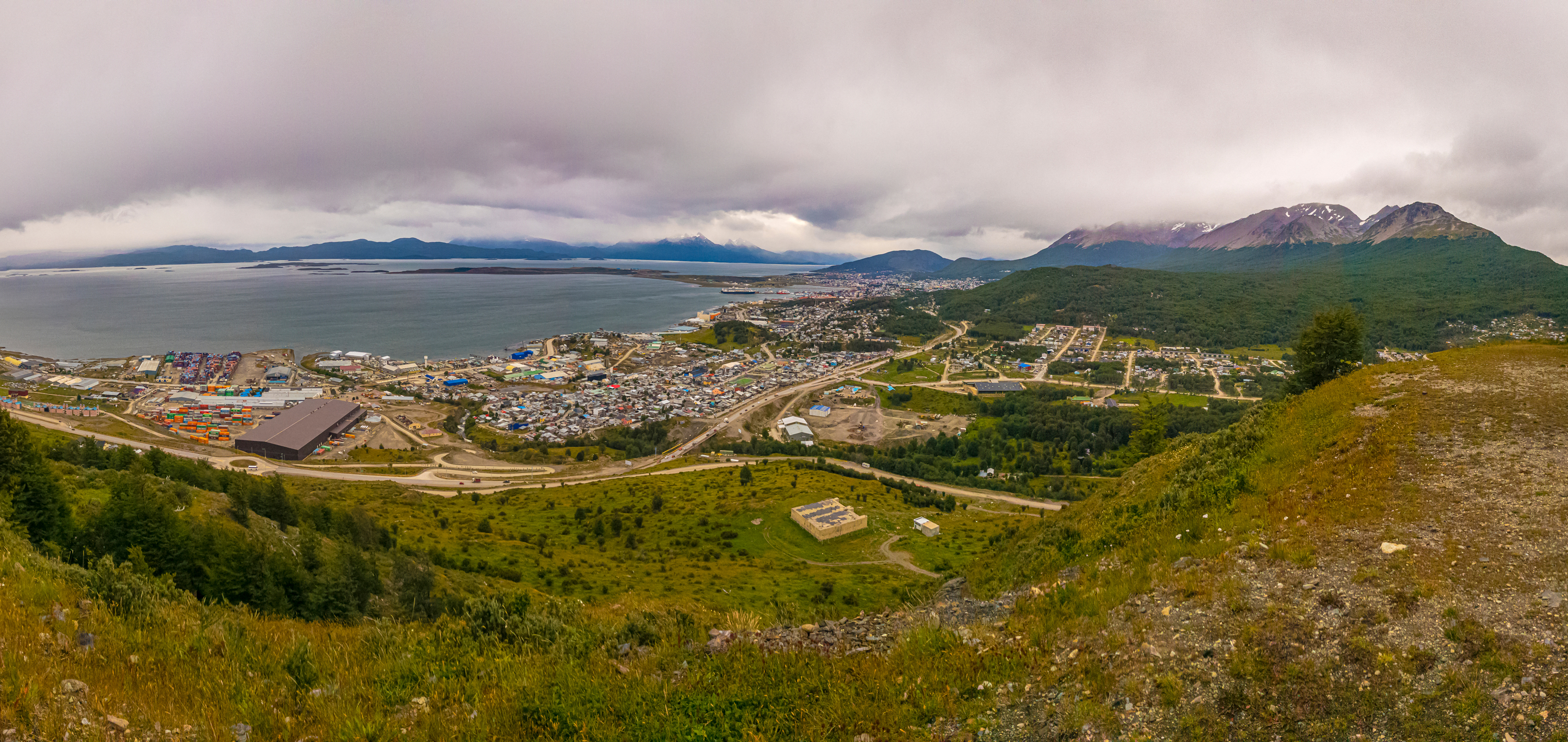 A panoramic landscape of the city of Ushuaia, Argentina