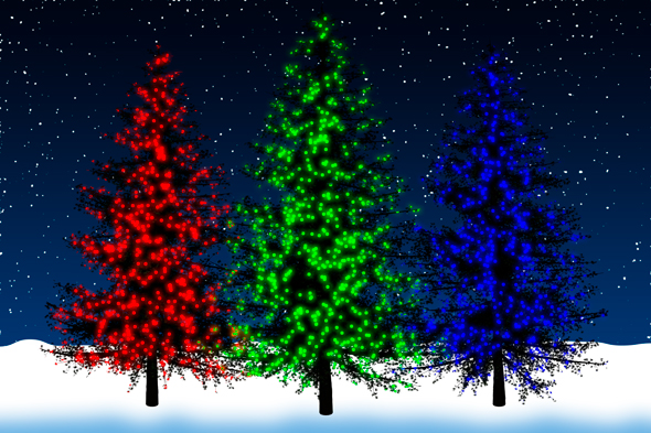 Synthetic holiday trees with synthetic lights in Photoshop